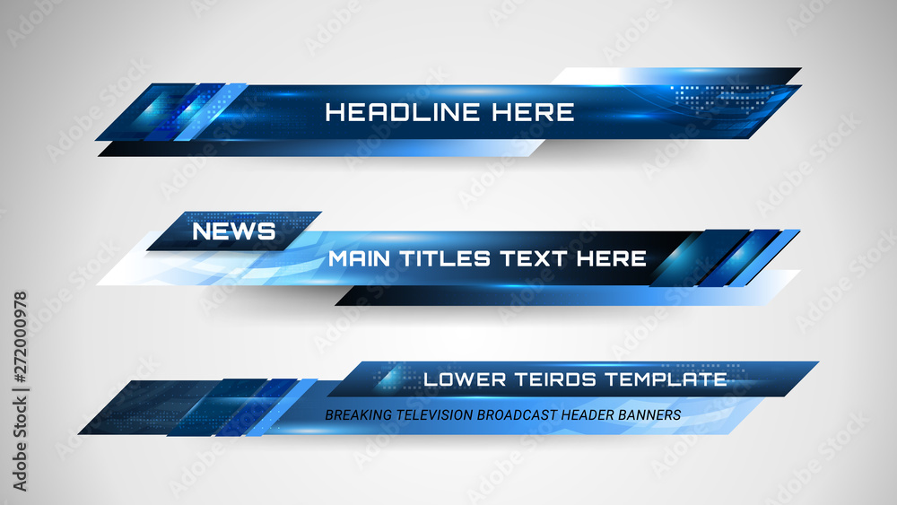 Fototapeta Graphic set of Broadcast News Lower Thirds Banner for Television, Video and Media Channel