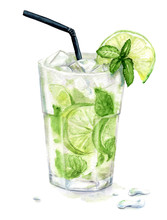 Watercolor Mojito Cocktail With Mint And Lime