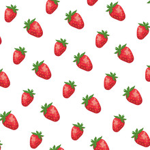 Sweet And Fresh Strawberries Fruits Pattern
