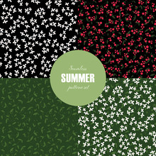 Set Of Vector Seamless Flower Pattern Template. Pretty White And Red Wildflower Isolated On Green And Black Color Background. Blossom Tile Design For Textile, Cloth, Wrapping Paper, Web, Print, Fabric