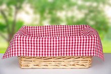 Wicker Basket With A Red Clot...