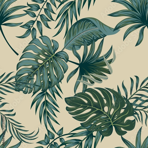 obraz dibond Tropical palm leaves, jungle leaves seamless vector floral pattern background.