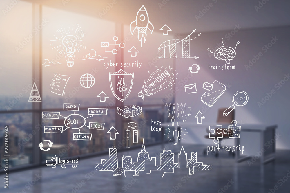 Fototapety, obrazy: Business plan sketch in office