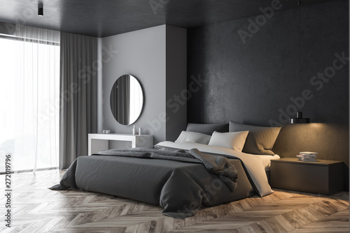 Gray panoramic bedroom with makeup table