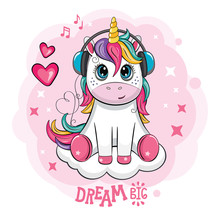 Cartoon Funny Unicorn With Headphones On Cloud. Cute Little Pony On White Background.  Wonderland. Fabulous Animal. Isolated Children`s Illustration For Sticker, Print. Postcard For Friends, Family.