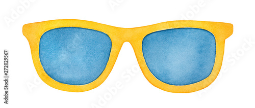 Fotografiet Pair of bright yellow sunglasses with navy blue lenses