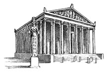 Seven Wonders Of The Ancient World. Temple Of Artemis At Ephesus. The Great Construction Of The Greeks. Hand Drawn Engraved Vintage Sketch.