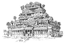 Seven Wonders Of The Ancient World. Hanging Gardens Of Babylon. The Great Construction Of The Assyrians. Hand Drawn Engraved Vintage Sketch.