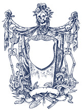 Medieval Vintage Heraldry. Ornament With Calligraphic Elements In Baroque Style. Engraved Frame Template. Decoration For The Coats Of Arms Of A Fantasy Kingdom. Vector Sketch Hand Drawn.