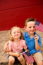 Little Boys Watching Fourth Of July Parade