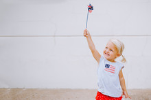 Adorable Patriotic Girl On The Fourth Of July