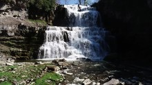 Flowing Waterfall In Chittenango Falls State Park, Aerial