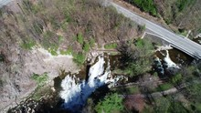 Overhead Aerial, Road Passes Over Waterfall In Chittenango Falls State Park