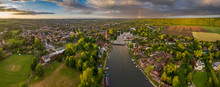 Dramatic Aerial Panoramic View Of The Beautiful Town Of Marlow In Buckinghamshire UK, Captured After A Rain Storm, With A Rainbow On The Horizon