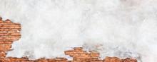 Damaged Plaster Wall Background. Antique Brick Wall Under Concrete Texture.