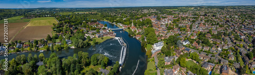 Aerial panoramic view of the beautiful town of Marlow, situated on the river Tha Wallpaper Mural