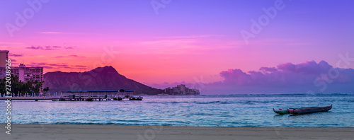 Tranquil Waikiki Sunrise over Diamond Head in Honolulu, Hawaii