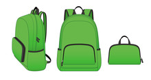 Green Foldable Backpack With Front Zippered Pocket And Side Pockets, Outdoor Folding Storage Package, Vector Illustration Sketch Template
