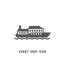 Ferry Ship Icon Simple Flat Style Vector Illustration.
