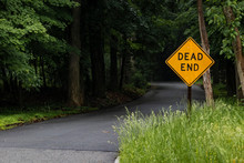 "Yellow ""DEAD END"" Sign Next To Dark Winding Road In The Middle Of Nowhere"