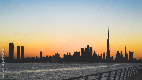 Fototapety, obrazy: Dubai skyline in sunset