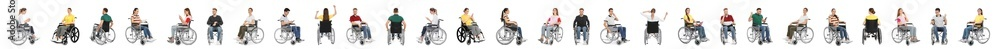 Fototapety, obrazy: Set of people in wheelchairs on white background. Banner design