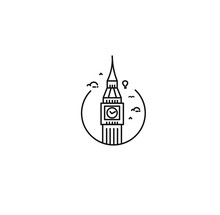 A Clock Tower Hand Drawn, Big Ben London - Outline For Design Vector Illustration
