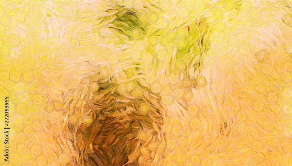 Abstract impressionism background painting in Vincent Van Gogh style. Interior wall art decor print. Colorful creative texture with watercolor splashes and oil elements. Digital contemporary design.