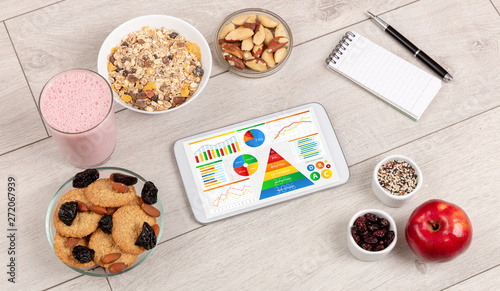 healthy eating concept - close up of tablet with several dieting statistics