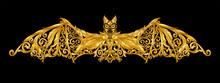 Gold Bat Hand Draw On Black