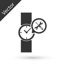 Grey Wrist Watch With Screwdriver And Wrench Icon Isolated On White Background. Adjusting, Service, Setting, Maintenance, Repair, Fixing.  Vector Illustration