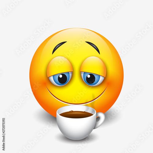 Cute sleepy emoticon drinking coffee, emoji