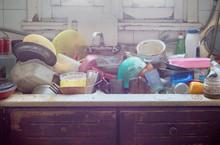 Pile Of Abandoned Dirty Utensi...