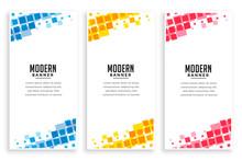 Modern Business Style Mosaic Banners Set