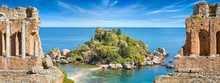 Collage With Ancient Greek Theatre And Isola Bella In Taormina, Sicily, Italy