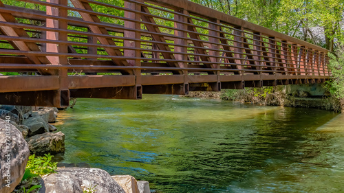 Photo Panorama frame Bridge over glistening river with rocks on the bank at Ogden Rive