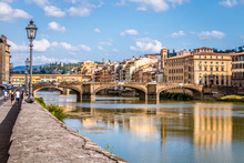 The Ponte Vecchio Over The Arno River In Florence, Tuscany, Italy