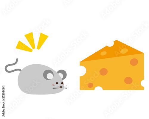 ねずみ ねずみ年 2020年 年賀状 イラスト チーズ