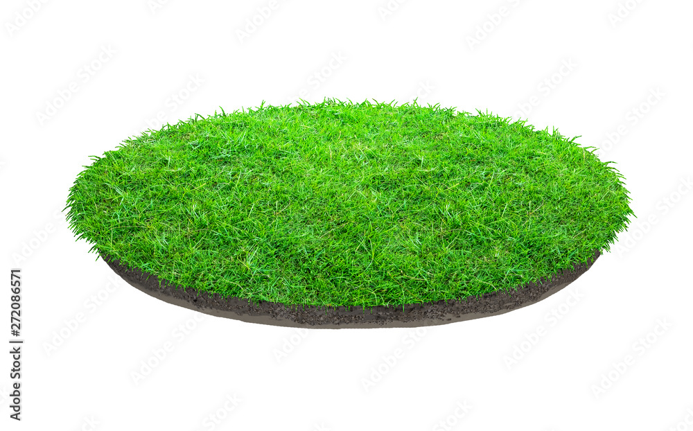 Fototapety, obrazy: Abstract green grass texture for background. Circle green grass pattern isolated on a white background.