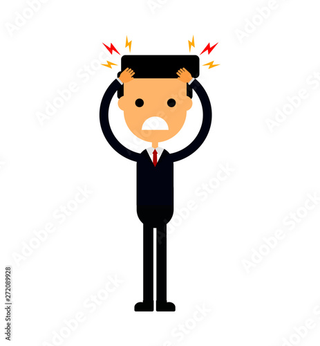 Businessman With A Headache Stress Work Migraine Funny Cartoon Character Isolated On White Background Vector Illustration Buy This Stock Vector And Explore Similar Vectors At Adobe Stock Adobe Stock