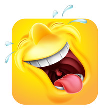A Laughing Happy Emoji Or Emoticon Square Face 3d Icon Cartoon Character
