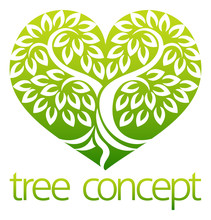 Tree Heart Iicon Concept Of A Stylised Tree With Leaves, Lends Itself To Being Used With Text