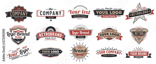 Old badges. Vintage sign, retro premium badge and logo emblem frame vector set