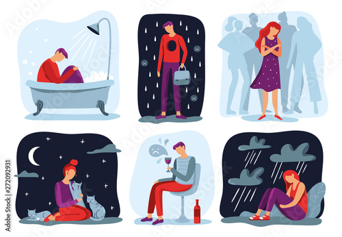 Obraz Feel loneliness. Feeling lonely, sad depressive person and social isolation vector illustration set - fototapety do salonu