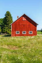 Red Barn At A Flowering Meadow In An Idyllic Summer Landscape