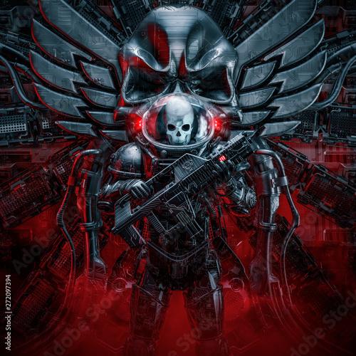 Photo Sentry skeleton military astronaut / 3D illustration of science fiction scene sh