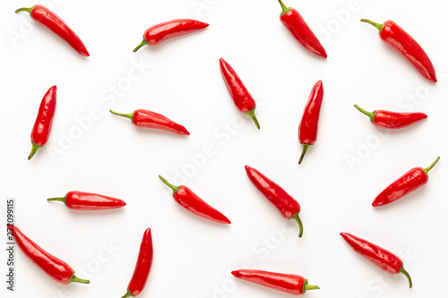Cadres-photo bureau Hot chili Peppers Chili or chilli cayenne pepper isolated on white background cutout.