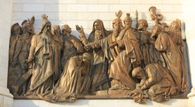 Religious Sculptures On Church Facade Of Cathedral Of Christ The Saviour In Moscow, Russia