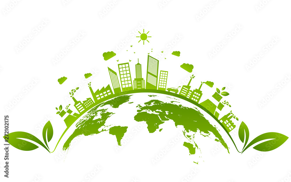 Fototapeta Ecology concept and Environmental ,Banner design elements for sustainable energy development, Vector illustration