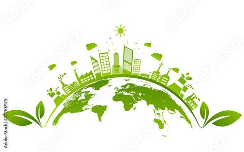 Obraz Ecology concept and Environmental ,Banner design elements for sustainable energy development, Vector illustration - fototapety do salonu